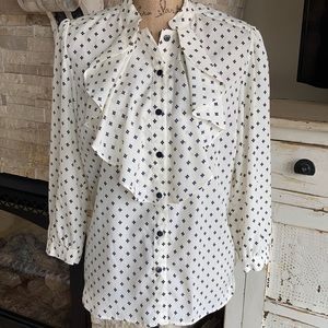 George cream ruffle front puff sl button blouse